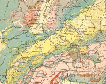 1903 Original Antique Geological Map of the Alps