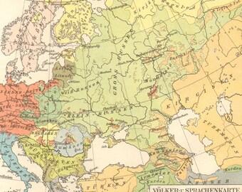 1897 Original Antique Racial and Linguistic Map of Europe