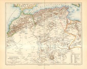 1893 Original Antique Dated Map of Algeria, Morocco and Tunesia