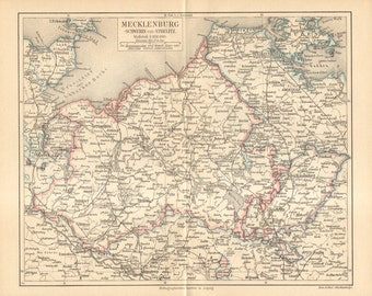 1892 Original Antique Map of the Grand Duchy of Mecklenburg-Schwerin