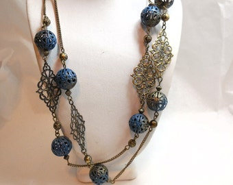 1/2 Price Vintage AVON Necklace Brass & Blue Filigree Extra Long fashion Great Flapper Style