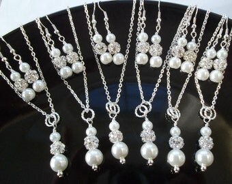 Set of 10 Bridesmaid Necklace And Earrings Jewelry Sets Pearl & Rhinestone Bridesmaid Jewelry,Ten Bridesmaid Earring And Necklace Sets