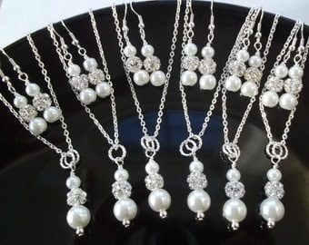 Set of 7 Bridesmaid Necklace And Earrings Jewelry Sets,Pearl & Rhinestone Bridesmaid Jewelry,Seven  Bridesmaid Earring And Necklace Sets