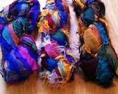 Recycled Sari Silk Ribbon Yarn - destash