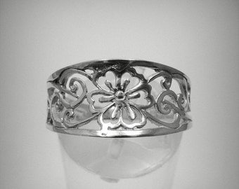 R001240 STERLING SILVER Ring Solid 925 Flower Band