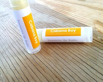 Cabana Boy Beeswax Lip Balm with Shea Butter - Tropical Coconut Lime Vanilla Handmade Moisturizing Lip Balm
