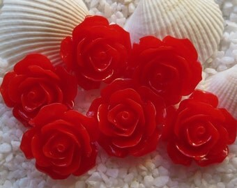Resin Flower Cabochon - 18mm - 12pcs - Red