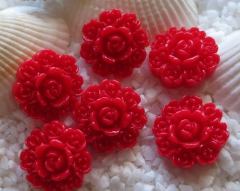 Resin Circle of Flowers Cabochon - 15mm - Red - 12 pcs