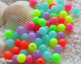 Neon Acrylic Beads - 6mm - 100 or 500 pcs - Mixed Colors
