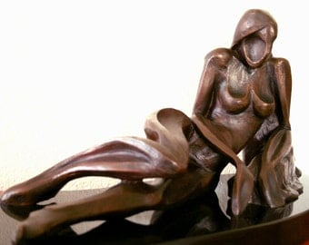 Reclining Female Figure  - Original Bronze Sculpture - Free shipping