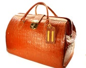 Brown Leather Doctors Bag with Golden TE Initials - Leather Doctors Case - 50% Off Sale