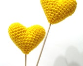 Yellow Wedding Cake Topper, Crocheted Yellow Hearts (Set of 2) Cake Toppers, For Valentine