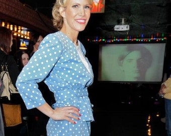 Vintage Dress - 80s Blue Polka Dot Dress with Peplum and Belt