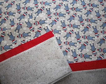 Sock Monkeys cotton pillowcases PAIR handmade standard/queen cotton free US shipping