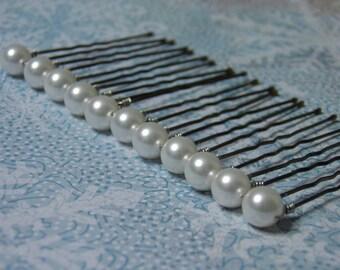 12 White 8mm Swarovski Crystal Pearl Hair Pins