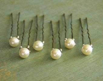 6 Ivory 6mm Swarovski Crystal Pearl Hair Pins