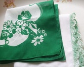 Hankies Set of Two Floral Green White Printed Daisies Poppies Crochet Edge Handkerchiefs