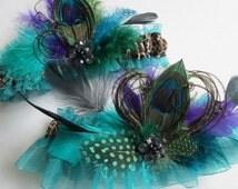 PEACOCK Wedding Garter Set, Teal / Jade Green Garters, Leopard Garter, Millinery Feather Garter, Steampunk Wedding