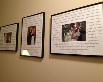 Custom WEDDING SONG 3 Photo frame package. Bride/Groom song, Father/Bride song and Mother/Groom song.