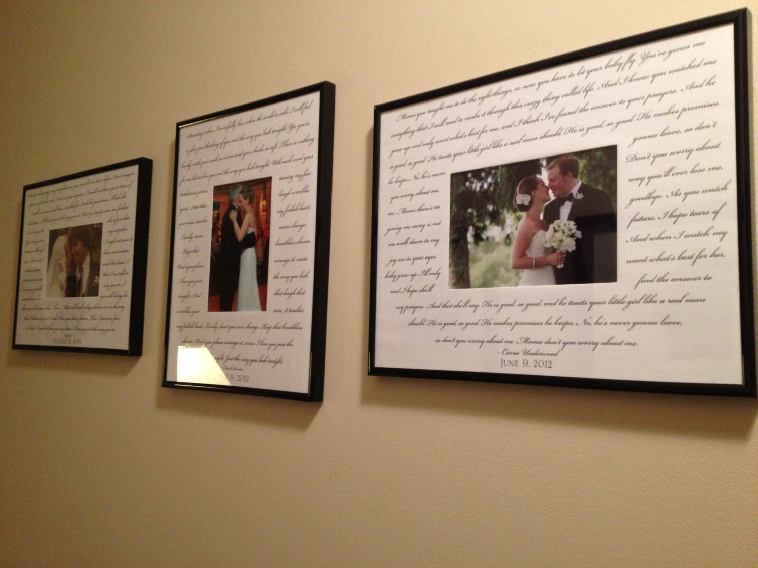 Custom Wedding Song 3 Photo Frame Package Bride Groom Song