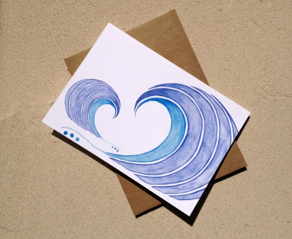 "Surf Notecards - Blue Waves - Set of Eight (3 1/2"" X 5"")"