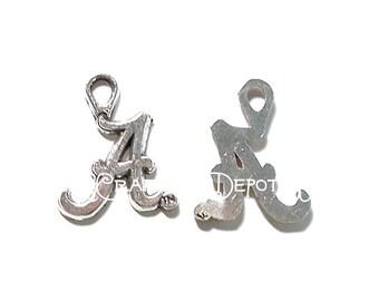 10 Pieces Letter  A  Antique Silver Tone Metal Charms Pendants destash collection SALE USA
