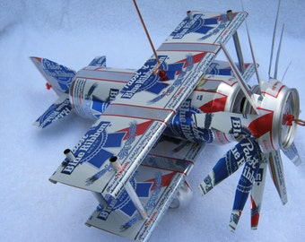 Handmade PBR  can plane airplane cool folk art wind spinner