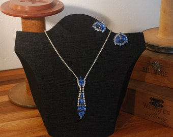Blue Rhinestone Necklace and Earrings