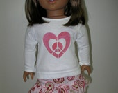 American Girl Style Doll Clothes -Ruffled Skirt in Shades of Pink and White long sleeve Heart T-Shirt