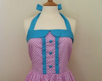 Retro Dress, MEDIUM SIZE, blue polka dots on a pink fabric, fully lined