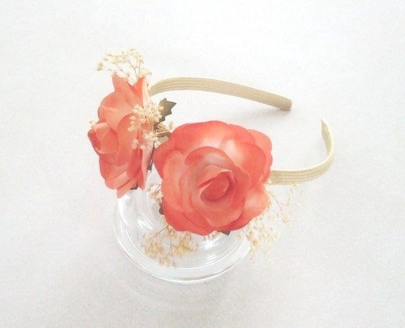 Real Flower Bridal Hair Accessories : Wedding hair accessories orange peach by budgetweddingbouquet