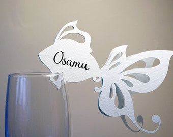 20 Place Cards, Sea Themed Wedding, Wine Glass Decor, Golden Fish, Ocean Theme, Original calligraphy, Cutout, Scrapbook, Paper Cut by Naboko