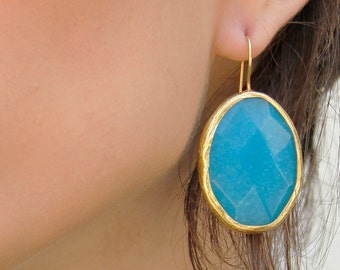 Gold and Turquoise Earrings - Gold Turquoise Jewelry - Turquoise Dangle Earrings - Turquoise and Gold Earrings - gift for her