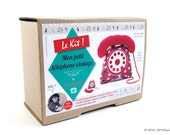 DIY Telephone - Kit Do It Yourself - Mon petit telephone vintage en tissu - My little vintage fabric telephone - fuchsia