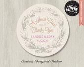 Custom Wedding Stickers - Country Flower Sweet Treat Thank You Favor Labels