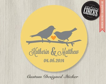 Custom Wedding Stickers - Love Birds Favor Labels