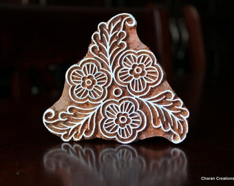 Hand Carved Indian Wood Textile Stamp Block- Floral Triangle