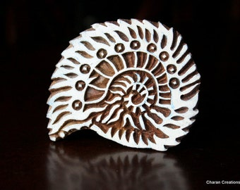 Hand Carved Indian Wood Stamp Block- Sea Shell