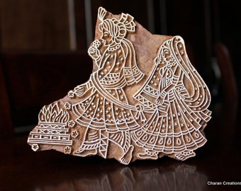 Hand Carved Indian Wood Textile Stamp Block- Indian Wedding Scene