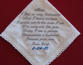 Mother of the Bride Handkerchief from Groom:  White with Damask design, Wedding date, Crochet Border