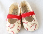 A LEAGUE of HER OWN-Red, Cream, Baseball, Sport Mary Jane Baby Girl Boutique Bootie