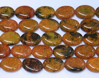 13x18mm Oval Orange Phenix Stone Bead Semiprecious Gemstone Bead Strand Wholesale Beads 6355 15''L Jewelry Supply Wholesale Beads