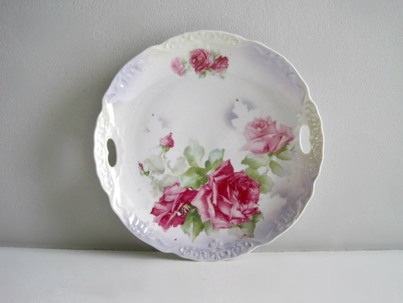 Vintage Floral China Cake Plate - Shabby Chic Roses