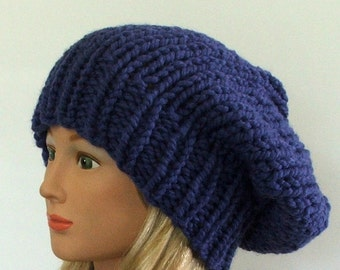 Made to Order - Chunky Knit Sapphire Blue Slouchy Beret Hat