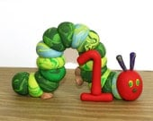 The Very Hungry Caterpillar with 1 - Clay Birthday Cake Topper