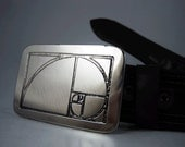 Golden Ratio Belt Buckle - Etched Stainless Steel - Handmade