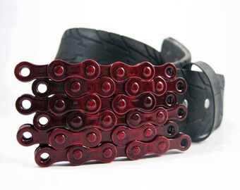 Recycled Bike Chain Belt Buckle- Flat- Candy Apple Red Finish