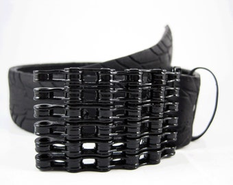 Recycled Bike Chain Belt Buckle- Curved- Black Finish