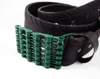 Recycled Bike Chain Belt Buckle- Curved- Green Finish