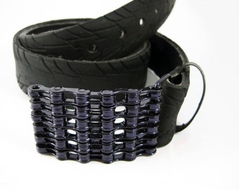 Recycled Bike Chain Belt Buckle- Curved- Iridescent Purple Finish